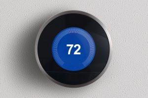 Nest smart thermostat set to 72°