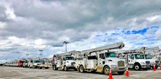 Trucks staged for Hurricane Michael 2018