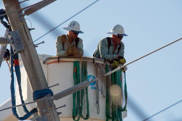 Florida Power & Light crews working on Hurricane Michael restoration along FL Hwy 98 Alt