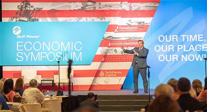 Florida Gov. Rick DeSantis who spoke about the Florida economy at the Symposium